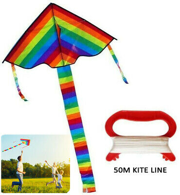 AU11.99 • Buy 2XRainbow Triangle Kite Outdoor Children Fun Sports Toys Gift With 50m Kite Line