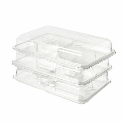 £14.99 • Buy Clear Sandwich Snack Catering Dips Platter Trays With Lids For Party Buffet 5 PC