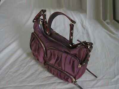 AU111.42 • Buy MZ WALLACE Dark Plum Nylon W/leather Strap Shoulder Purse Bag