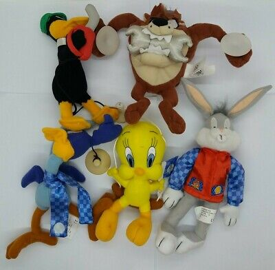 1999 Collectable Shell Warner Bros Looney Tunes Soft Toys BUGS TAZ ROAD RUNNER • 85£