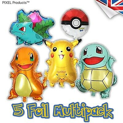 Pokemon Foil, Latex Balloons, Towers, Banner, Party Decorations Supplies • 7£