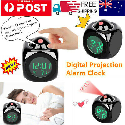 AU13.99 • Buy Digital Projection Alarm Clock With LCD Display Voice Talking LED Projector AU