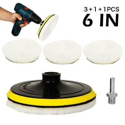 5Pcs 6inch Buffing Polish Pads Wool Wheel Kit For Car Polisher Drill Adapter • 6.79£