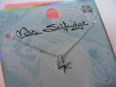 £7.48 • Buy Miss Selfridge Silver Tone Necklace Star Charm With A Crystal Bead NEW