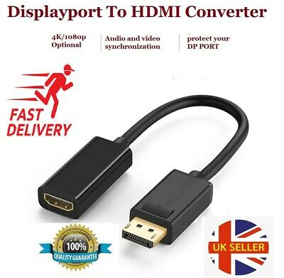 DP Male To HDMI Female Adapter Converter 4K HD Display Port 1080P For HDTV PC UK • 2.99£