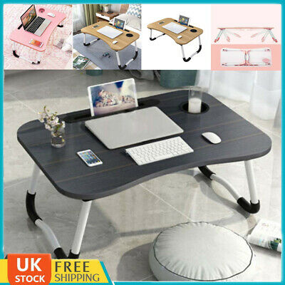 Folding Laptop Bed Tray Table Portable Lap Desk Notebook Breakfast Cup Slot • 15.48£