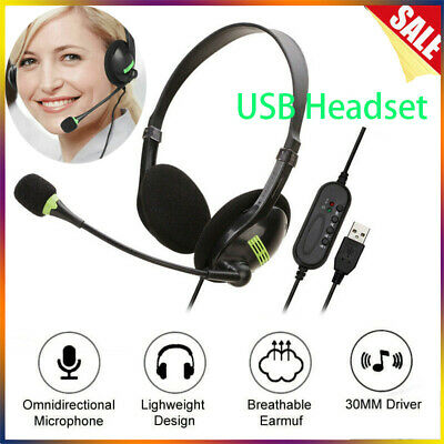 USB Headphones With Microphone Noise Cancelling Headset For Skype Laptop NEW UK • 8.29£