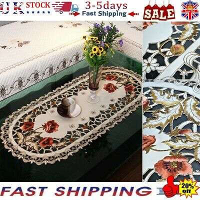White Embroidery Floral Lace Tablecloth Wedding Dining Party Table Cloth Cover • 7.99£