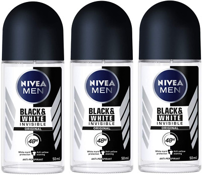 Nivea For Men Invisible For Black & White 48 Hours Deodorant Roll On 50 Ml. 3 Pa • 12.14£