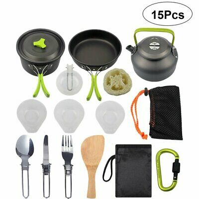 £23.90 • Buy Portable Camping Cookware Kit Outdoor Cooking Equipment Utensils For 1-2 People