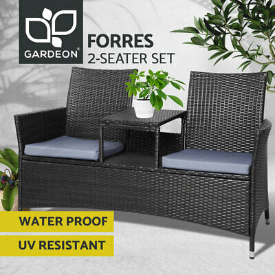 AU219.90 • Buy Gardeon Patio Furniture Outdoor Bench Garden Setting Wicker Chair Table 2 Seat