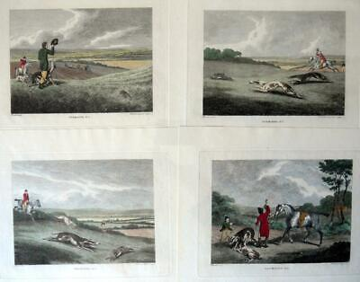 £125 • Buy COURSING GREYHOUNDS BY SAMUEL HOWITT C1806 SET OF FOUR ANTIQUE COPPER ENGRAVINGS