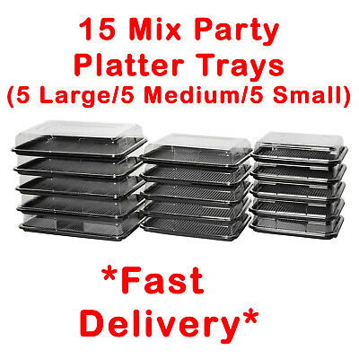 £24.99 • Buy 15X Mix Catering Platters Trays With Lids For Parties, Sandwiches, Buffet Cakes