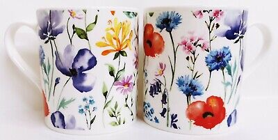 £12.90 • Buy Wildflowers Meadow Mugs Set 2 Fine Bone China Balmoral Floral Cups Decorated UK