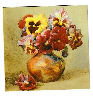 Margaret Tarrant Pansies In A Copper Vase Medici Blank Greeting Card • 1.99£