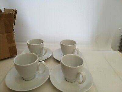 £24.99 • Buy Guy Degrenne FRENCH Porcelain Small Espresso Coffee Cups & Saucers White Set X 4