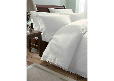 White Vintage Lace Broderie Anglaise Bedding / Duvet Cover Set • 45.99£