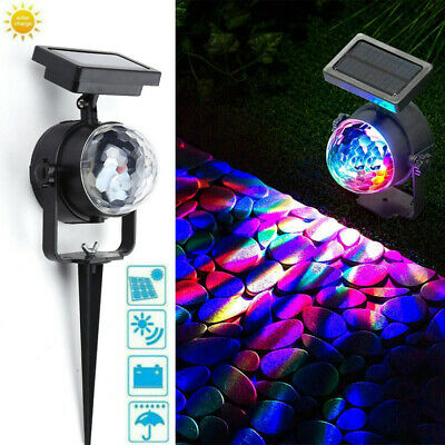 Solar Spot Lights LED RGB Colour Changing Projection Stake Garden Light Outdoor • 10.78£