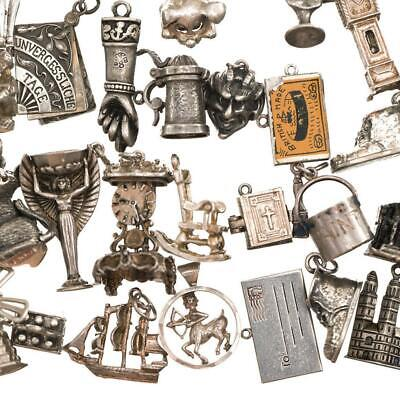 $ CDN39.58 • Buy Vintage Sterling Silver Bracelet CHARM Wigglers Movers Antique Puffy Lot Old