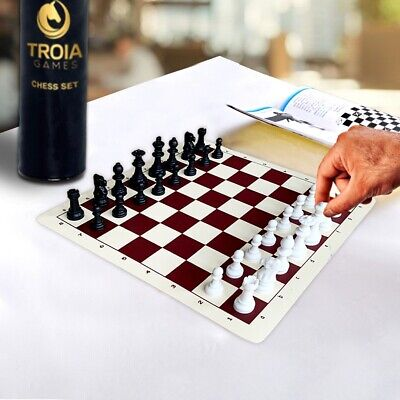 £13.90 • Buy 13.5  (34 Cm) ROLL UP Travel Chess Set With Vinyl Chess Board And Plastic Pieces
