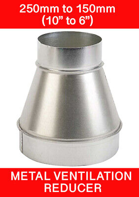 250 To 150mm Metal Ventilation Reducer Hydroponics Grow Room Duct 10  To 6   • 12.95£