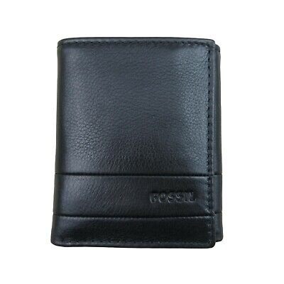 $29.99 • Buy Fossil Lufkin Trifold Black Leather Mens Wallet NEW SML1395001