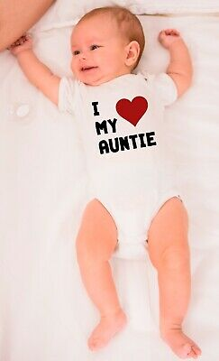 I Love My Auntie Babygrows Funny Baby Gift Bodysuit Gift For Baby Shower Vest • 10.99£