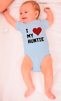 I Love My Auntie Babygrows Funny Baby Gifts Bodysuit Gift For Baby Shower Vest • 10.99£
