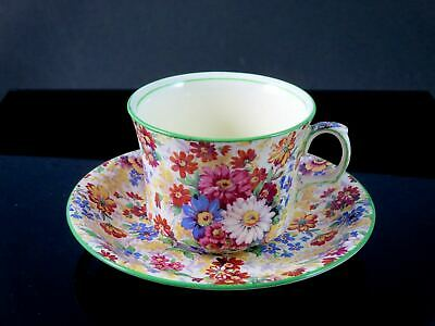 $ CDN12.99 • Buy ROYAL WINTON GRIMWADES Cup & Saucer CHINTZ  RUTLAND  1930s Green Trim