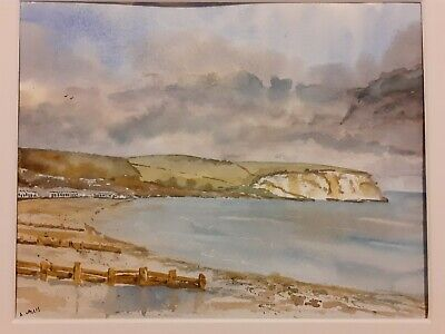 Original Painting. Watercolour. Dorset Beach. Storm And Sea. Mounted. • 15£