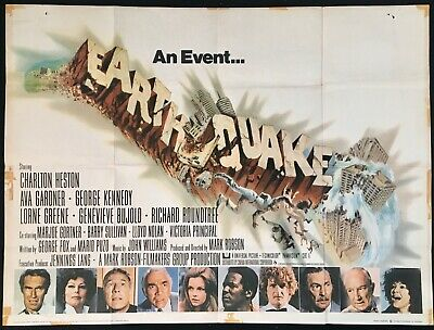 Earthquake ORIGINAL Quad Movie Cinema Poster Ava Gardner Charlton Heston 1974 • 60£
