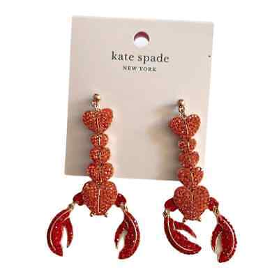 $ CDN80.96 • Buy Kate Spade LOVE LOBSTER Sparkly Dangle Earrings - New/NWT Red Pink Rosegold
