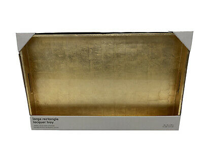 West Elm Reclaimed Wood Lacquer Tray 18 X 28  Gold NEW (Gorgeous) X-LARGE • 40.05£