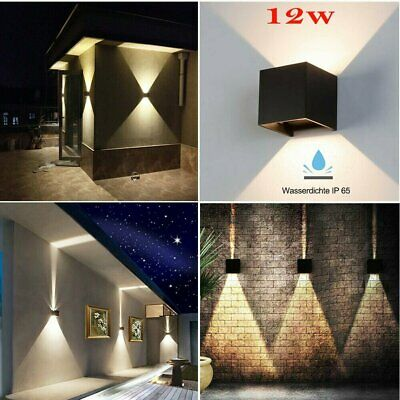 Waterproof 12W LED Wall Lights Up/Down Modern Sconce Outdoor/Indoor Lamp IP65 UK • 14.90£