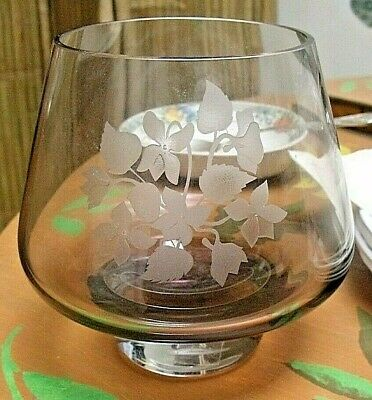 £5.95 • Buy Caithness  Glass Etched Bouquet  Posy Bowl Vase Smoky Grey Colour 5.25   Tall