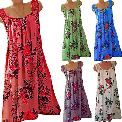Women's Summer Beach Boho Floral Midi Dress Sleeveless Loose Sundress Plus Size • 14.39£