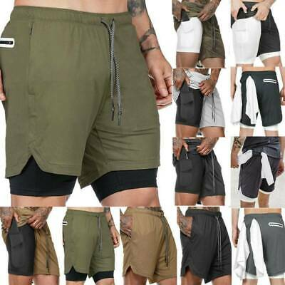Mens Shorts Sports Fitness Bodybuilding Base Layered Running Gym Short Pants • 10.99£