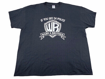 If You See Da Police Warn A Brother Black Vintage T Shirt Jerzees Mens Sz 3XL • 8.15£