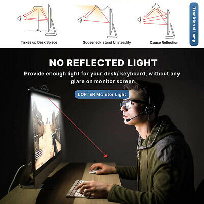 AU25.99 • Buy LED Desk Lamp Reading Bar Computer E-reading Touch Dimmable Monitor Screen Light
