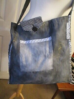 £5 • Buy Quirky Homemade Large Size Tote Or Book Bag In Grey, Black And White Fabric  A2