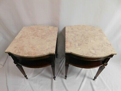 $400 • Buy Weiman Heirloom Side / End Tables - Mahogany Wood With Marble Top - Pickup Only