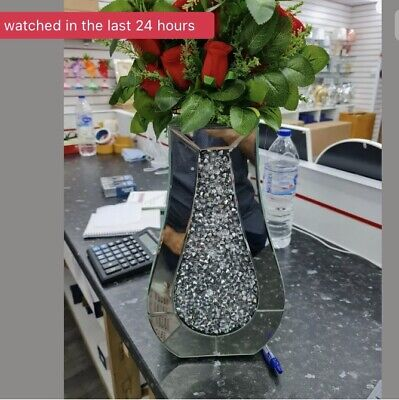 Diamond Crushed Crystal Sparkly Silver Mirrored Vase 40cm • 45£