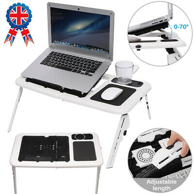 Folding Laptop Desk Portable Adjustable Comeputer Table Stand Cooling Fan White • 9.98£