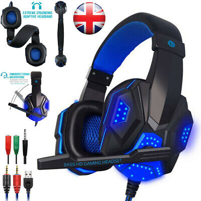 Gaming Headset USB Wired Over LED Headphones With Mic For PC Laptop PS4 PS5 XBOX • 16.89£