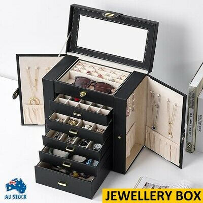 AU70.99 • Buy Large Jewellery Box Rings Necklace Storage Display Case Mirror Leather Organiser