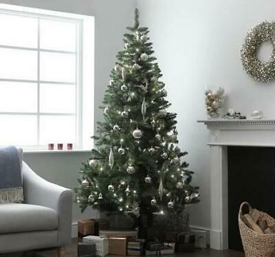 7ft Christmas Tree Pre Lit Nordic Spruce Pine Cone Green Xmas Presents Lights • 39.95£