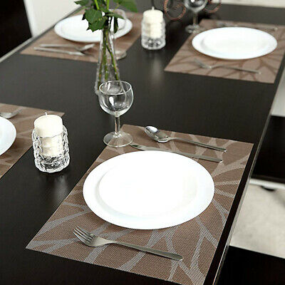 AU23.93 • Buy 6Pcs Dining Table Placemats Coasters Woven Anti-Slip Washable PVC Place Mats AS