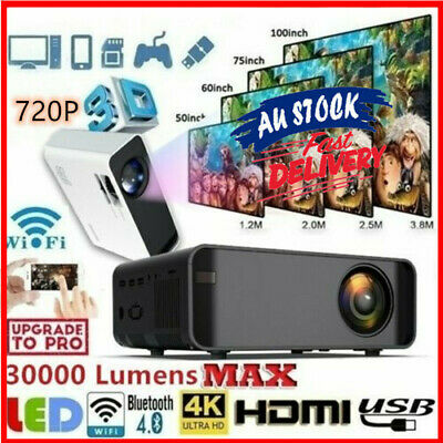 AU97.89 • Buy HD 720P 3D Video Bluetooth Wireless Mini Projector WiFi Android Home Theaters AU