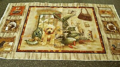 Fabric Giordano Studios Labrador Dog Puppy Hunting Panel • 7.16£