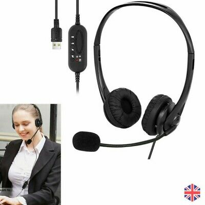 USB Stereo Headset Earphone Telephone Headphone With Mic For Laptop Call Center • 13.87£